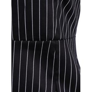 Striped Mini Sheath Belted Work Dress - BLACK 2XL