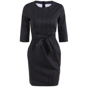 Striped Mini Sheath Belted Work Dress