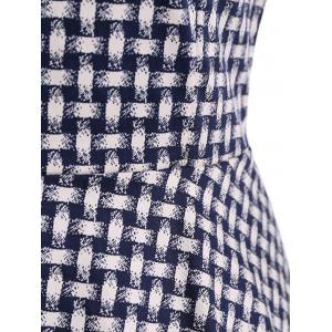 Braided Print Sleeveless Swing Vintage Dress with Belt - PURPLISH BLUE 2XL