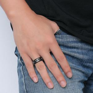 Cable Inlay Letter Ring - Black - 12