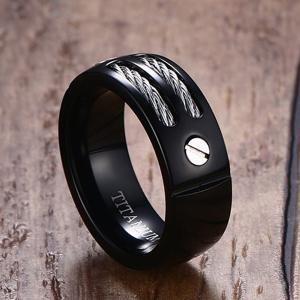 Cable Inlay Letter Ring -