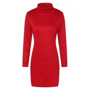 Long Sleeve Sheath Ribbed Turtleneck Dresses - Red - S