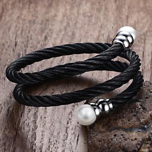Double Circle Cable Fake Pearl Bracelet and Ring -