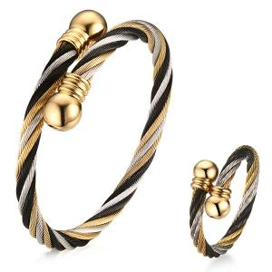 Single Circle Cable Bracelet and Ring - Golden - One-size