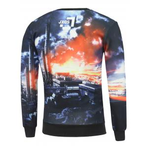 Crew Neck 3D Dusk City Print Long Sleeve Sweatshirt -