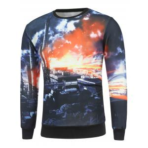 Crew Neck 3D Dusk City Print Long Sleeve Sweatshirt