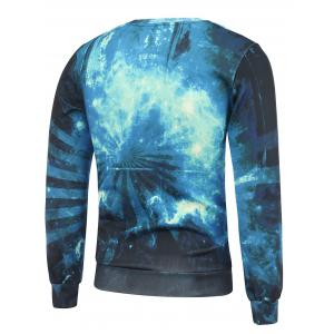 Crew Neck 3D Wolf and Galaxy Print Sweatshirt - BLUE 2XL