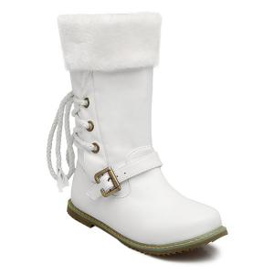 Lace Up Faux Shearling Mid Calf Boots - White - 37