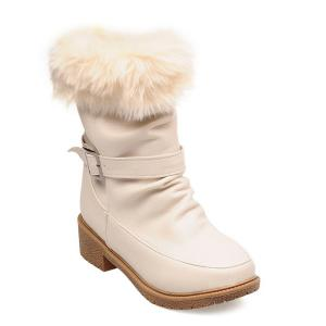 Low Heel Faux Fur Trim Ankle Boots - Off-white - 39