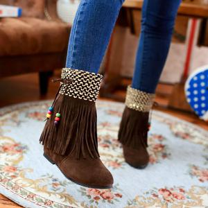 Vintage Fringe Ankle Boots - Brown - 39