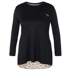 Plus Size High Low Leopard Print T-Shirt - Black - 3xl