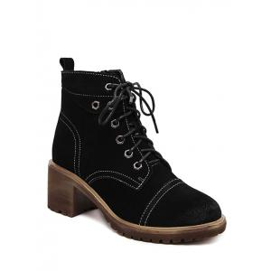 Chunky Heel Eyelets Suede Combat Boots -