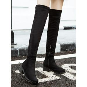 Chunky Heel Flock Thigh High Boots -