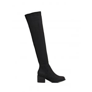 Chunky Heel Flock Thigh High Boots