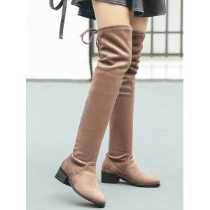 Slip On Suede Over The Knee Boots -