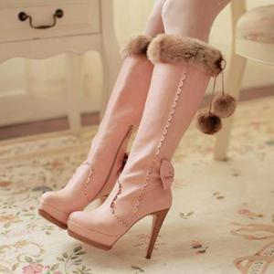 High Heel Scalloped Pompon Mid Calf Boots - Pink - 41