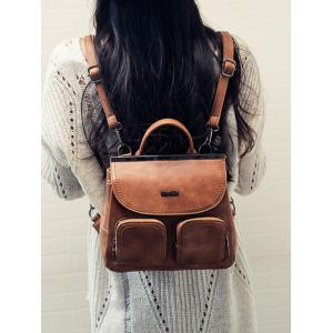 Pockets Stitching Metal Trimmed Backpack -