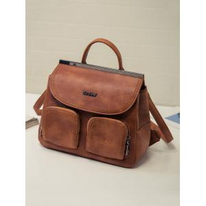 Pockets Stitching Metal Trimmed Backpack - BROWN