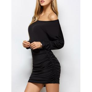 Long Dolman Sleeve Ruched Bandage Dress