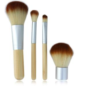 4 Pcs Facial Makeup Brushes Kit - YELLOW