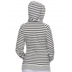 Stripe Pullover Long White Hoodie With Pocket -