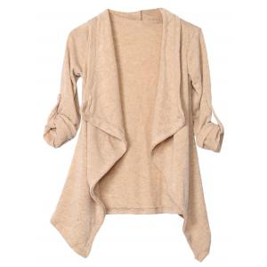 Long Sleeve Irregular Knitted Draped Cardigan