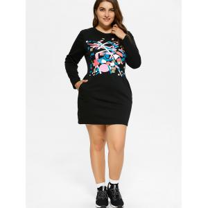 Plus Size Printed Mini T-Shirt Dress With Pocket -