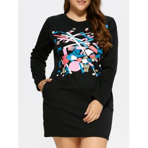 Plus Size Printed Mini T-Shirt Dress With Pocket