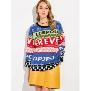 Pullover Patterned Crew Neck Sweater -