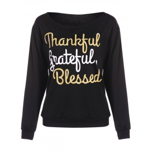 Thankful Print Pullover Sweatshirt