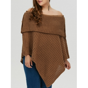 Plus Size Knitted Asymmetric Chunky Cape - Camel - One Size