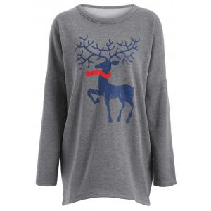 Plus Size Deer Print Longline T-Shirt - Gray - L