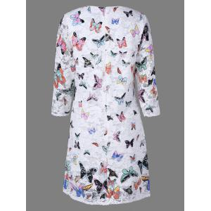 Lace Colorful Butterfly Mini Dress - WHITE 2XL