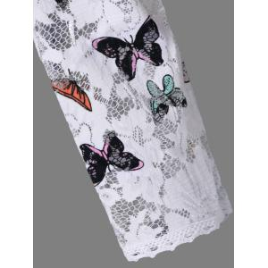 Lace Colorful Butterfly Mini Dress - WHITE M
