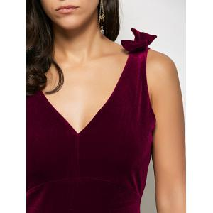 Velvet Bowknot Bodycon Party Empire Waist Cocktail Dress - WINE RED XL