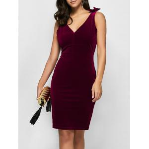 Velvet Bowknot Bodycon Party Empire Waist Cocktail Dress - Wine Red - Xl