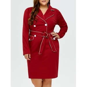 Lapel Plus Size Belted Bodycon Dress - Burgundy - Xl