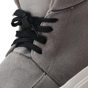 Suede Platform Tie Up Ankle Boots -