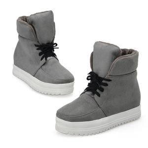 Suede Platform Tie Up Ankle Boots - GRAY 38