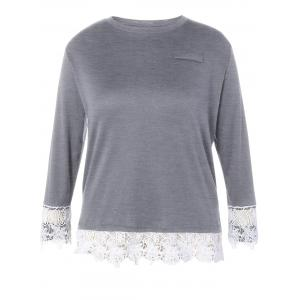 Plus Size Long Sleeve Lace Panel T-Shirt