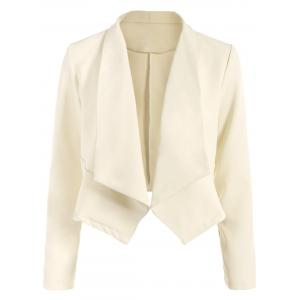 Open Front Shawl Collar Blazer - Off-white - M