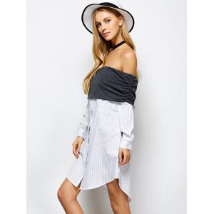 Off The Shoulder Striped Casual Dress -