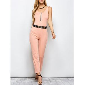 Half Zip Plunging Neck Straight Jumpsuit