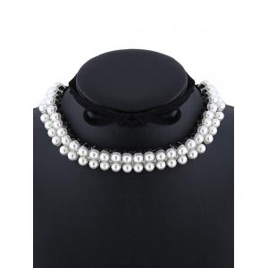 Fake Pearl Velvet Choker Necklace - SILVER