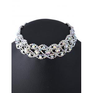 Hollowed Rhinestoned Necklace - SILVER