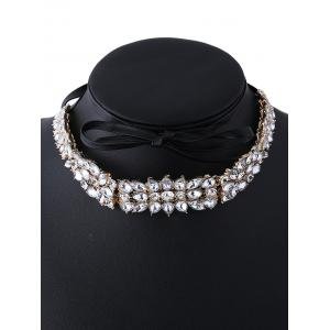 Artificial Leather Rhinestone Choker Necklace -
