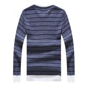Crew Neck Striped Graphic Long Sleeve Sweater -