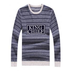 Crew Neck Striped Graphic Long Sleeve Sweater