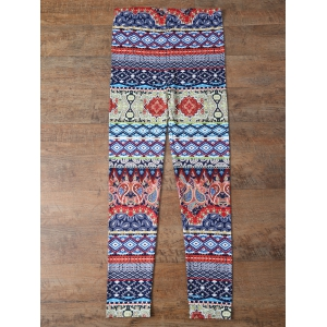 Retro Print Skinny Leggings - COLORMIX XL