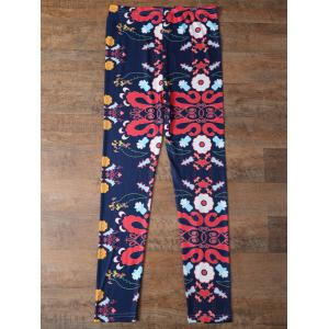 Elastic Waist Tiny Floral Pattern Leggings - PURPLISH BLUE XL
